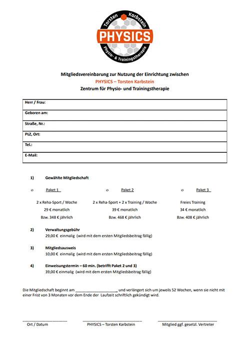 Rehasport ohne Verordnung - Mitgliedsvertrag